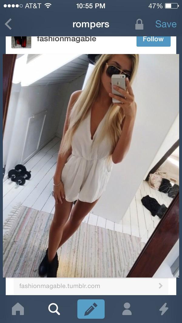 romper white lace girly cute dress dress fashion