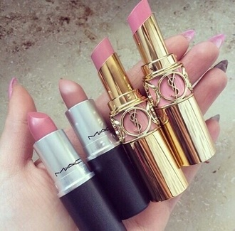 make-up mac cosmetics yves saint laurent lipstick pink lipstick slay