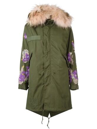 coat parka fur women floral green