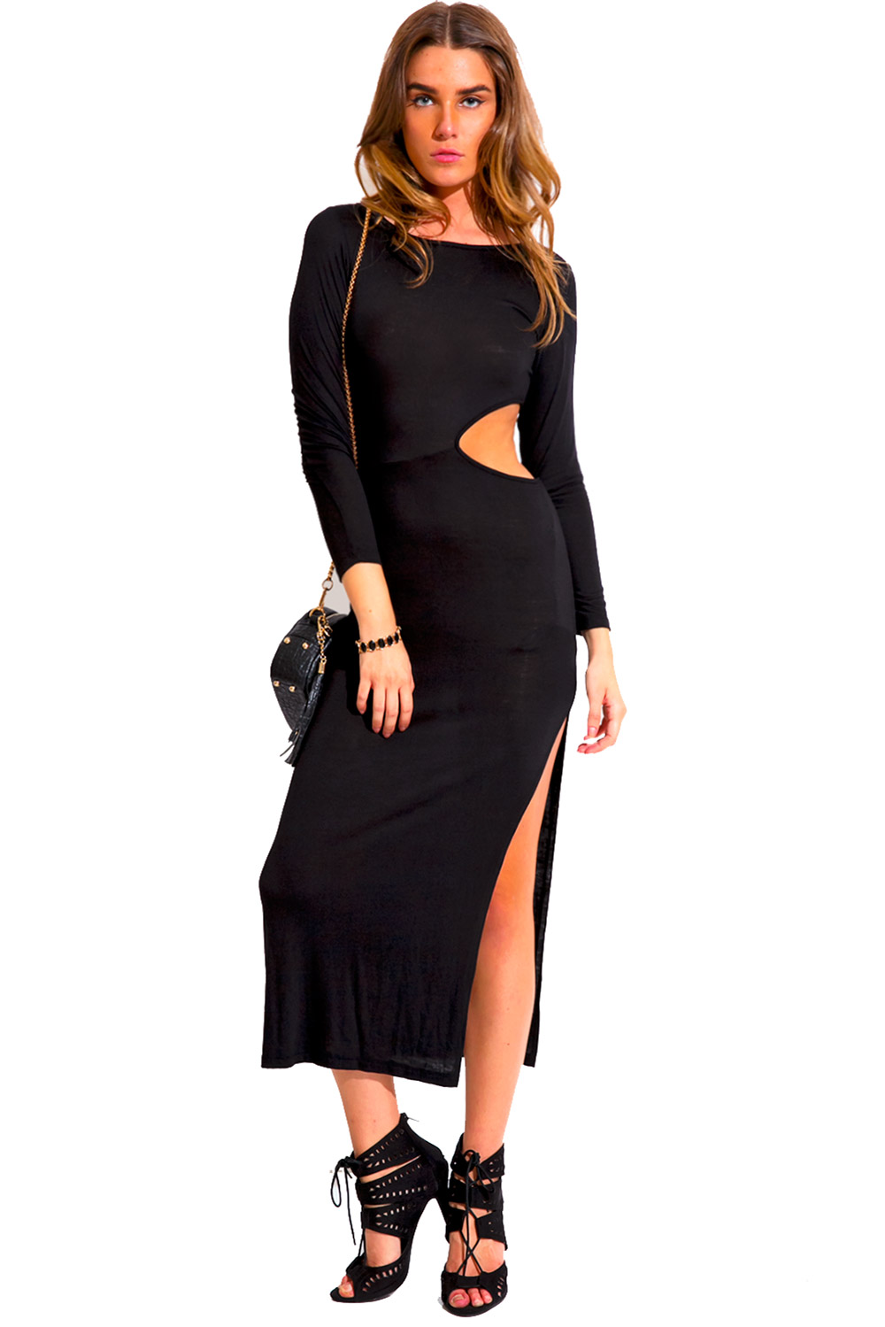 cut out high slit long sleeve fitted evening party maxi dress ...