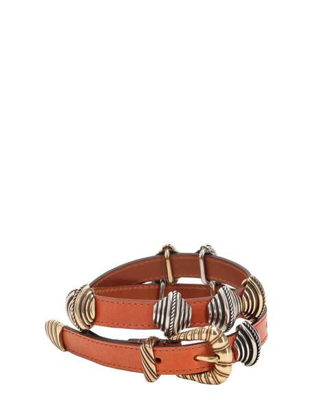 ETRO Leather Belt W/ Sliding Metal Details in brown