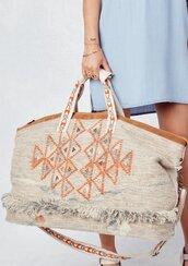 bag,weekender bag,geo pattern bag,embroidered bag,pattern bag,printed bag,tote bag,weekender tote bag,suede trim,suede,leather,fringed bag,boho,boho bag