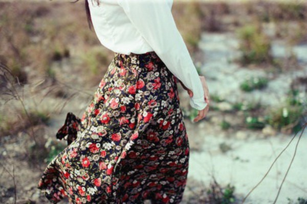 skirt long skirt black flowers floral long skirt