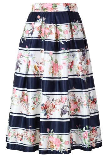 Contrast Striped Blooming Floral Midi Skirt  - Retro, Indie and Unique Fashion