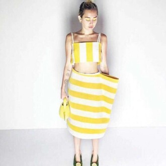 skirt top yellow stripes miley cyrus editorial