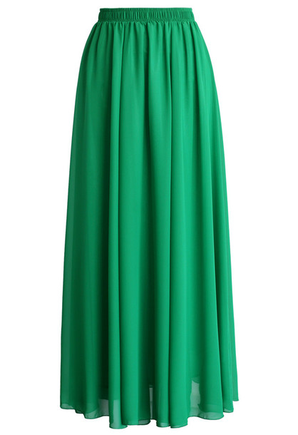 skirt chicwish emerald green skirt chiffon skirt