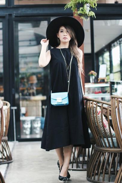 brown platform blogger hat black dress dress bag