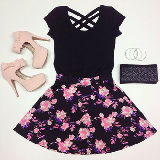 t-shirt socks bows heels skirt floral girly summer outfits pink fashion black dress top roses high heels shoes