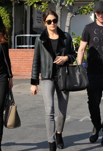 nikki reed leather jacket reversible shearling jacket grey jeans bag satchel bag
