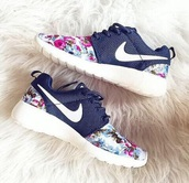 shoes,nike,nike running shoes,tick,floral,flowers,black,pink,girl,roshes,trainers,nike flower sneakers,flowered,floral shoes,roshe runs,workout,fitness,health,happiness,fit,nike air,healthy,diet,lace up,gym,nike air\,nike shoes,nike roshe run,athletic,girly,cute,nikes,instagram,navy,blue,women