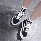shoes,vans,crew socks,90s style,tumblr,black,white,black and white,skateboard,socks,stripes,old school