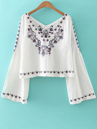top white boho fashion style trendy long sleeves festival summer zaful
