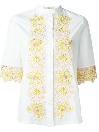 shirt embroidered women white cotton top