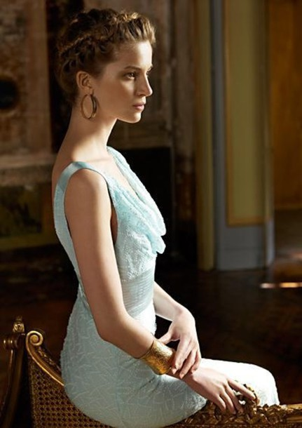 dress lace dress blue sleeveless dress grecian