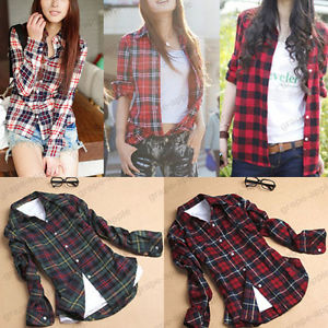 Women Button Down Casual Lapel Shirt Plaids Checks Flannel Shirt Top Blouse 3820 | eBay