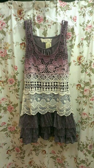 dress clothes boho bohemian lace dress purple hipster indie ombre dress