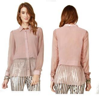 blouse button up sheer nude top shirt office work girls night desginer junior