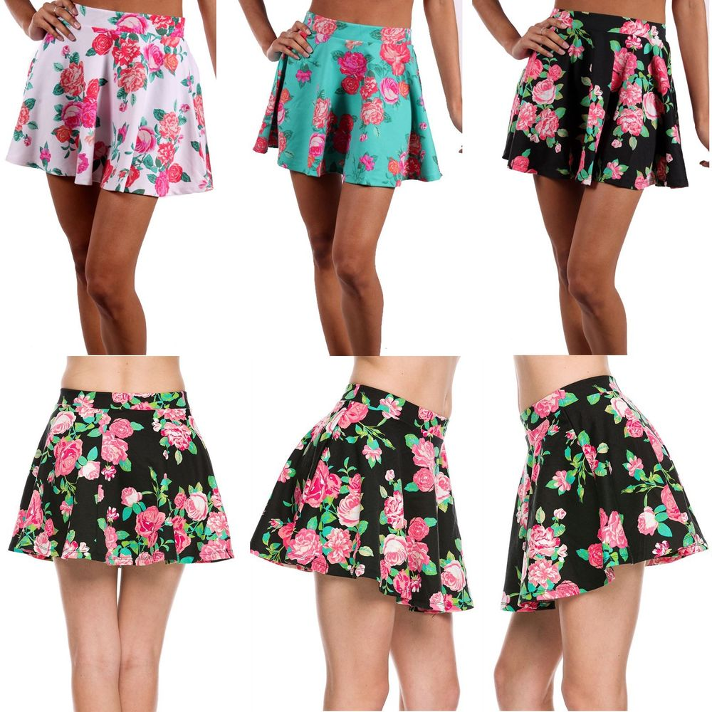 75aae01b85 Sexy Floral Print Stretch Flared A Line Peplum Skater Pleated Mini Skirt |  eBay