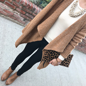 stylish petite,blogger,cardigan,jewels,t-shirt,pants,shoes,bag,shirt,sweater,jeans,clutch,animal print,animal print bag,necklace,ankle boots