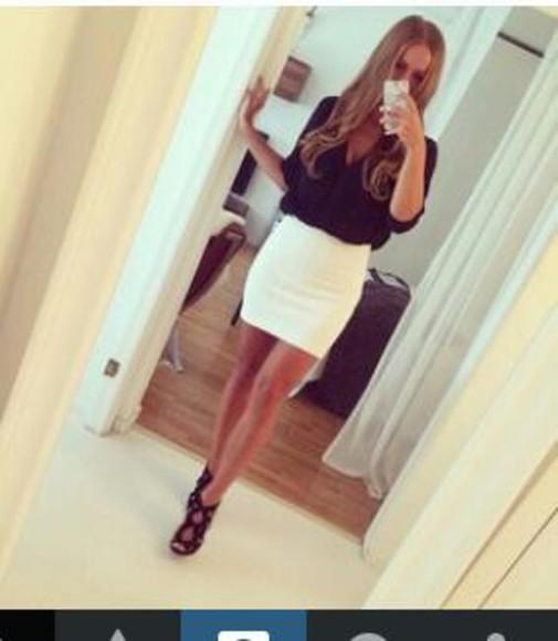 white skirt blouse black blouse two piece dress set high heels