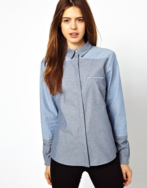 ASOS | ASOS Shirt with Zip Detail in Cut About Chambray at ASOS