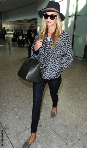 rosie huntington-whitley jacket pants hat sunglasses