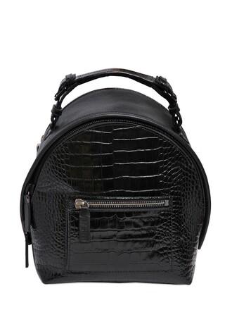 backpack leather backpack leather crocodile black bag