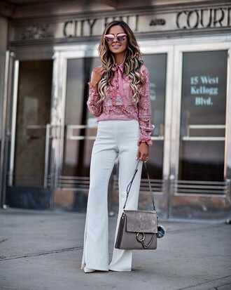 pants tumblr shirt pink shirt bag grey bag white pants wide-leg pants spring outfits sunglasses pink sunglasses mirrored sunglasses