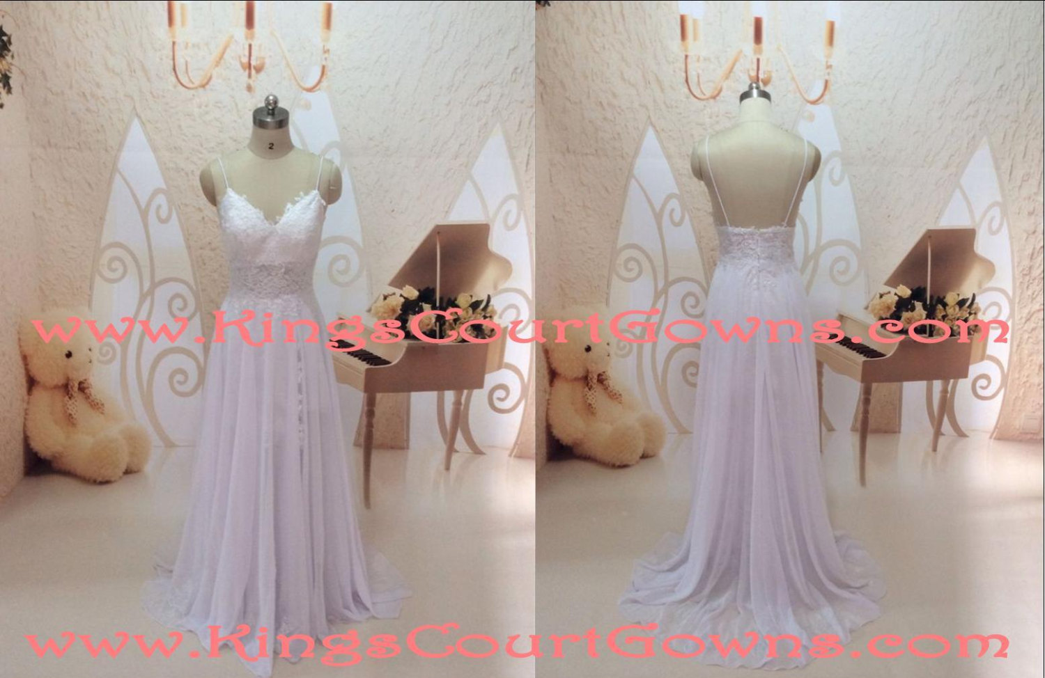 Replica lace backless chiffon wedding prom dress gown