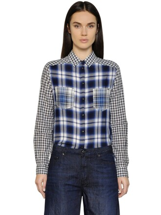 shirt flannel shirt patchwork cotton flannel white blue top