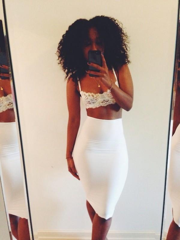 skirt white midi skirt white brallette