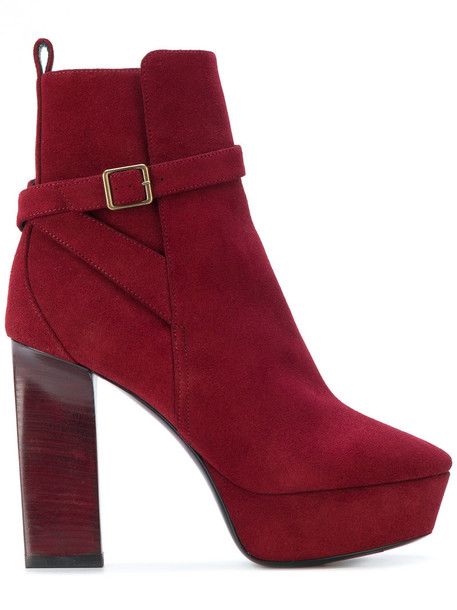 Saint Laurent women ankle boots leather suede red shoes