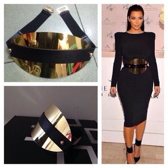 belt stretchable black and gold metallic buckle belt high waist belt cummerbund gold waist belt kim kardashian