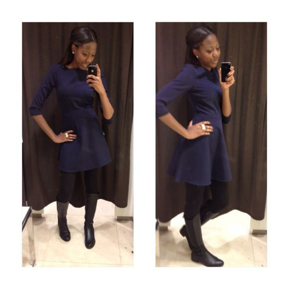 zara dress navy blue shoes
