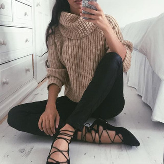 shoes black shoes loafers leather pants turtle neck sweater sweater streetwear streetstyle fall outfits