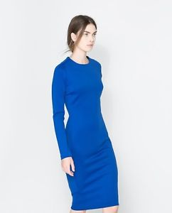 Zara Electric Royal Blue Bodycon Dress Long Sleeves Size s New | eBay
