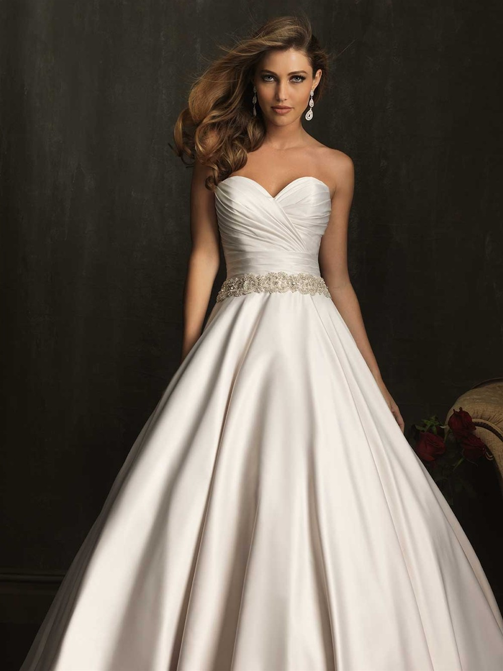 Allure Bridals 9065 Strapless Sweetheart Satin Ball Gown Wedding Dress    Crazy Sale Bridal Dresses|Special Wedding ...