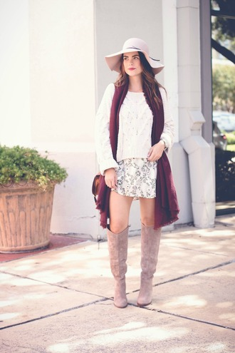 live more beautifully blogger sweater dress bag shoes scarf hat burgundy white sweater knitted sweater white hat mini skirt knee high boots nude boots