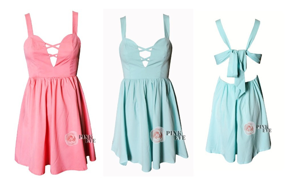 Aliexpress.com : buy free shoping new arrivals  stylish cut out candy colored bow back dress tb 5296 from reliable dress summer suppliers on pink eve fashion