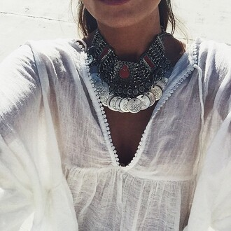 jewels necklace boho coin necklace silver jewelry boho jewelry vans warped tour statement necklace