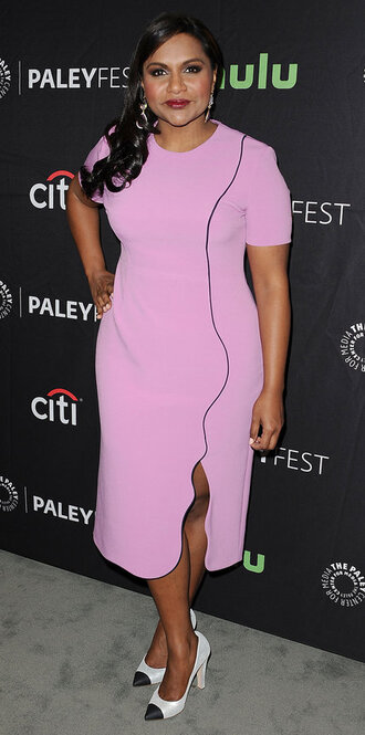 dress pink mindy kaling pumps slit dress midi dress