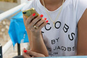 jacobs by marc jacobs,white t-shirt,edgy,t-shirt,marc jacobs,nail polish,necklace,bag,top,marc,jacobs,jewels,marc by marc jacobs,white,shirt,marcjacobs,white shirt marc jacobs,gold,sharp teeth,black,iphone,ring,designer,marc jacobs shirt,marc jacobs tshirt,vogue,ma,style,iphone cover,t shirt.,casual,earphones