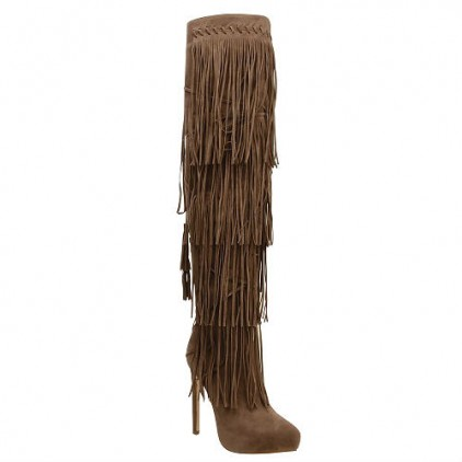 black taupe thigh high fringe boots stiletto heels