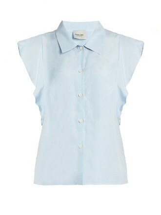 top ruffle light blue light blue