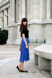 pleated,natalie off duty,blue skirt,skirt