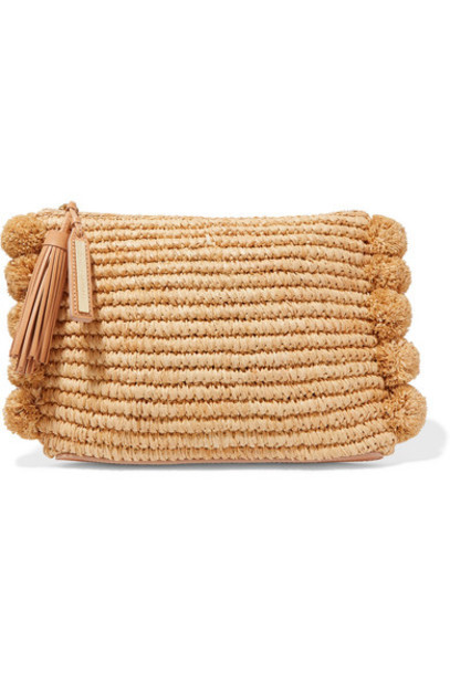 tassel embellished clutch beige bag