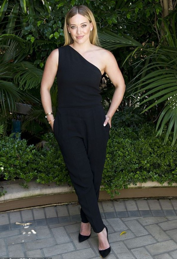 51a83832c3fc jumpsuit one shoulder all black everything hilary duff pumps.