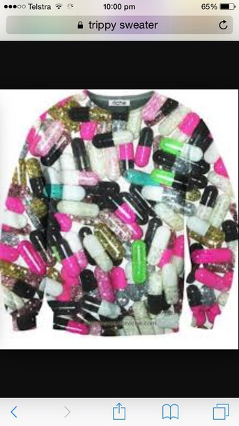 sweater white pills trippy