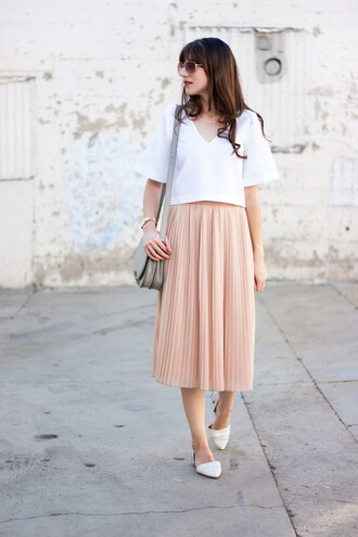 jeans and a teacup blogger blouse skirt bag jewels pleated skirt midi skirt white top flats shoulder bag round sunglasses pink skirt maxi skirt grey grey bag blush pink