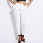 pants,heavenly,peplum,leggings,white,heaven,makeup table,vanity row,dress to kill,bottoms